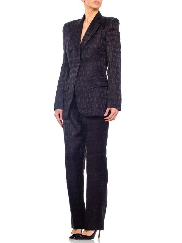 1990'S RICHARD TYLER Black Silk Couture Peak Lapel Pant Suit For Sale 6