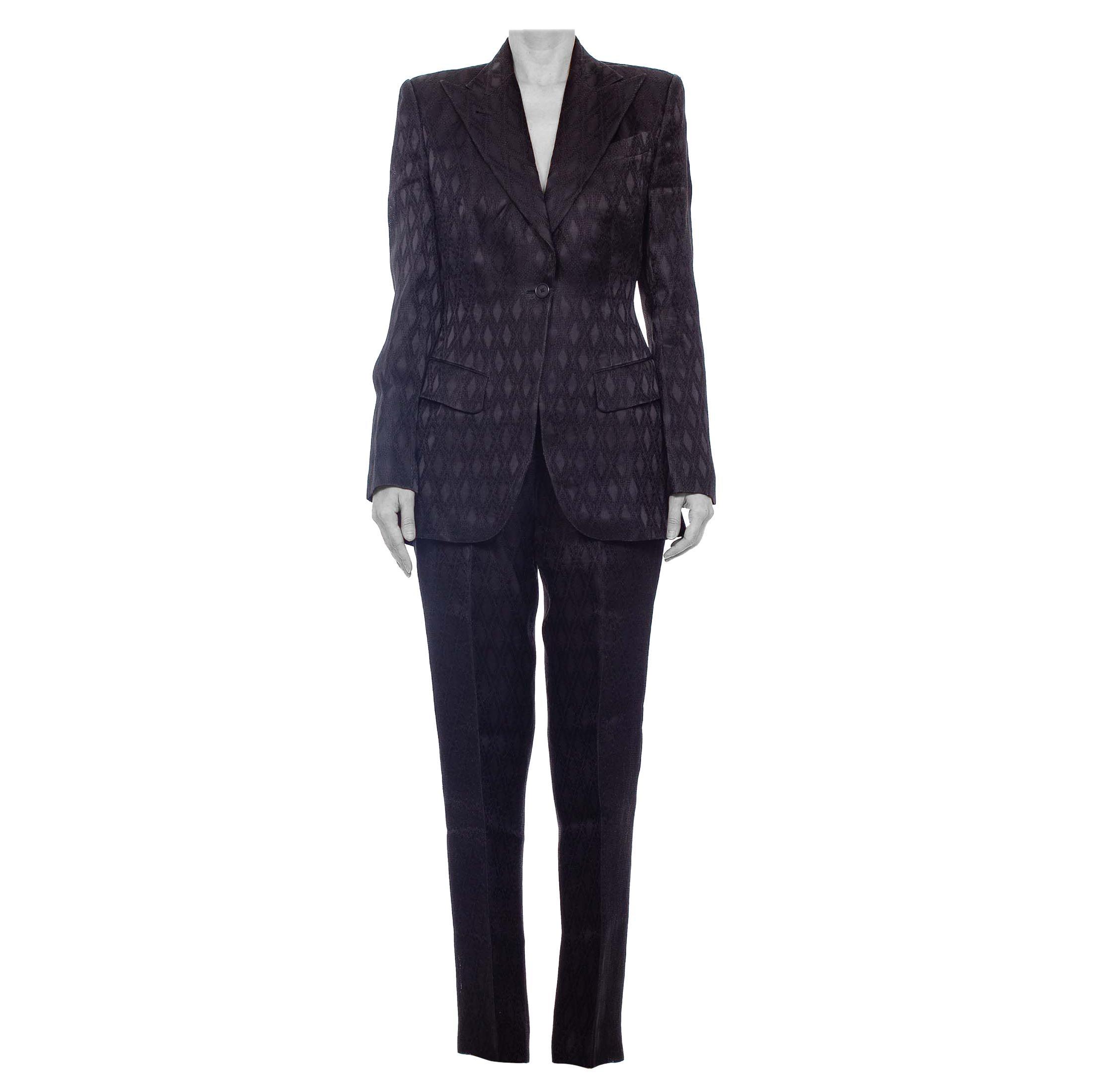 1990'S RICHARD TYLER Black Silk Couture Peak Lapel Pant Suit