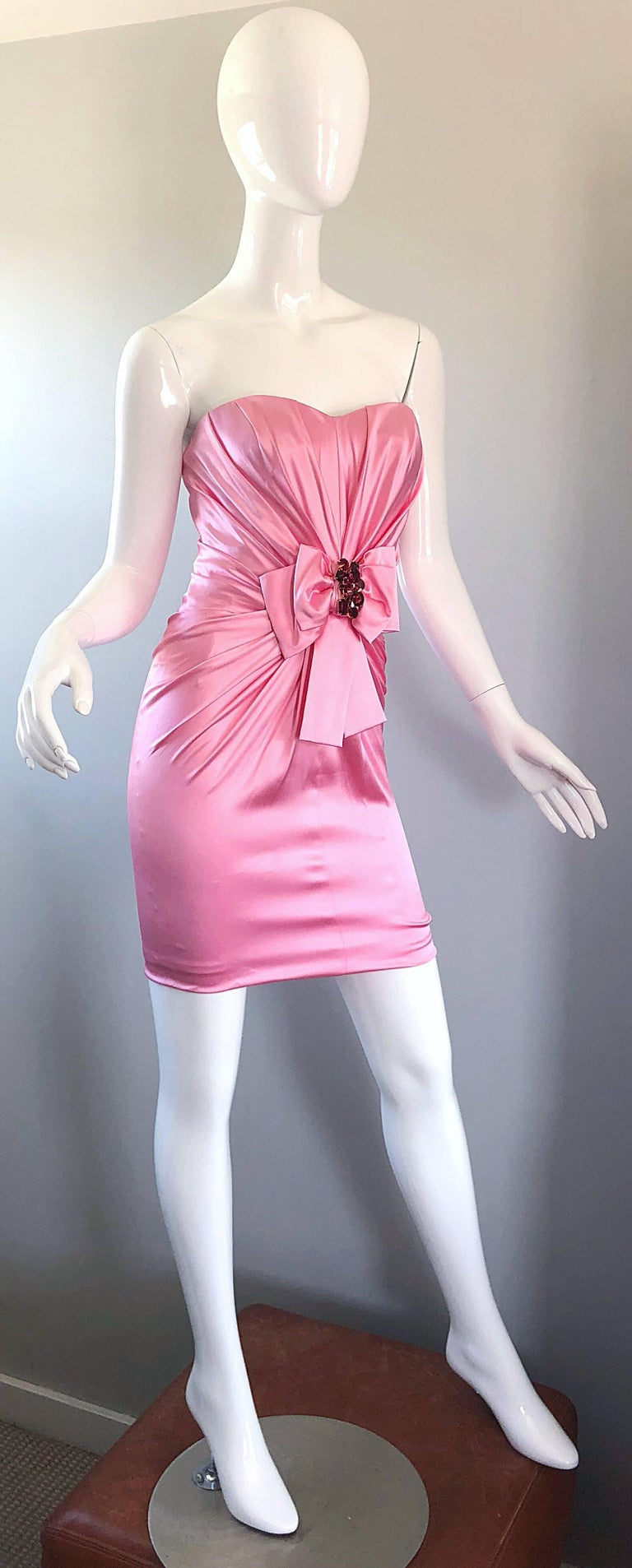 1990s Dolce and Gabbana Bubblegum Pink + Red Crystal Beaded 90s Silk Mini Dress For Sale 6