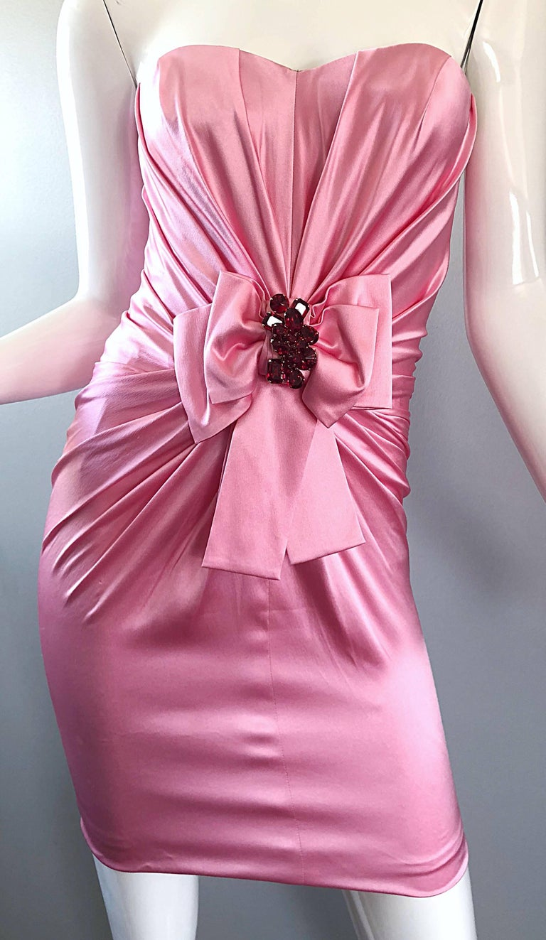 1990s Dolce and Gabbana Bubblegum Pink + Red Crystal Beaded 90s Silk Mini Dress For Sale 8