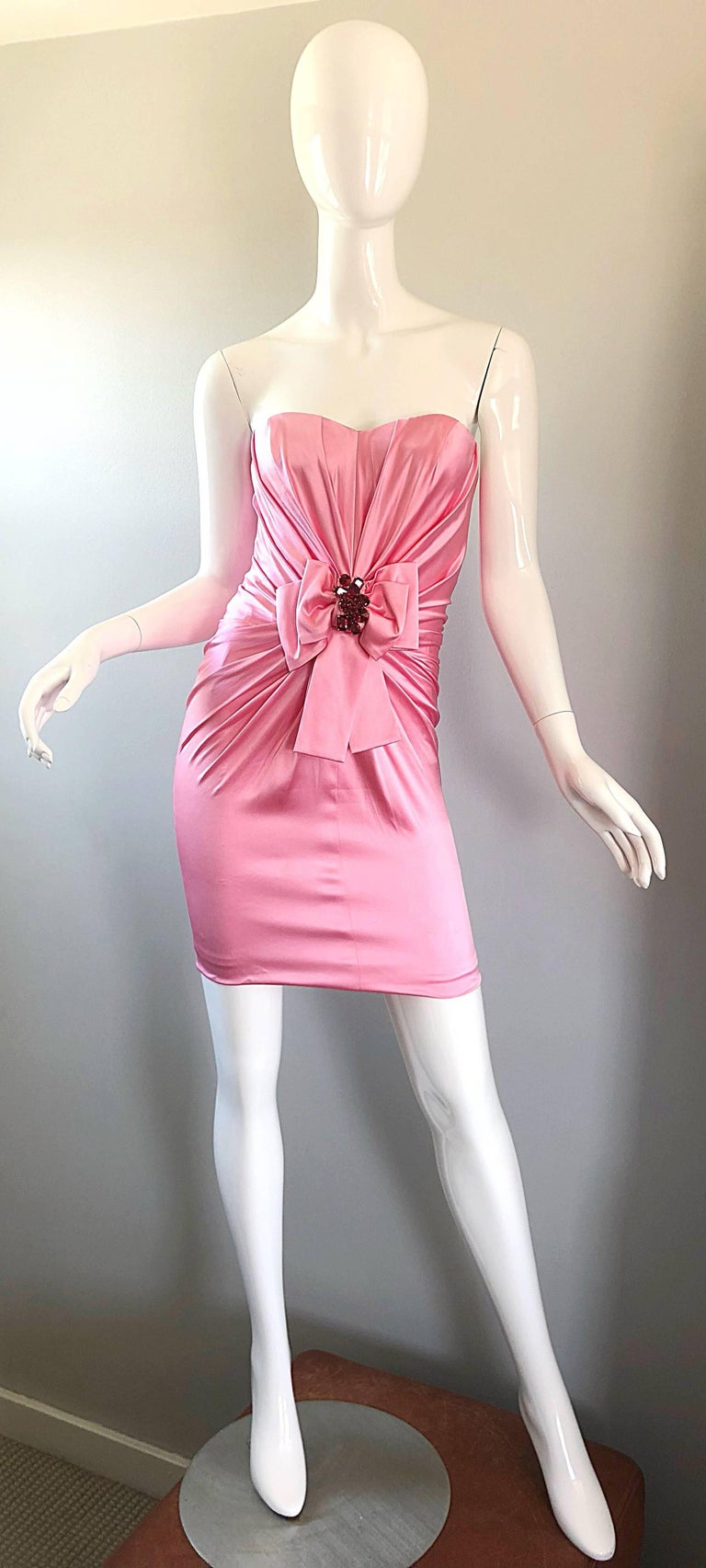 1990s Dolce and Gabbana Bubblegum Pink + Red Crystal Beaded 90s Silk Mini Dress For Sale 10