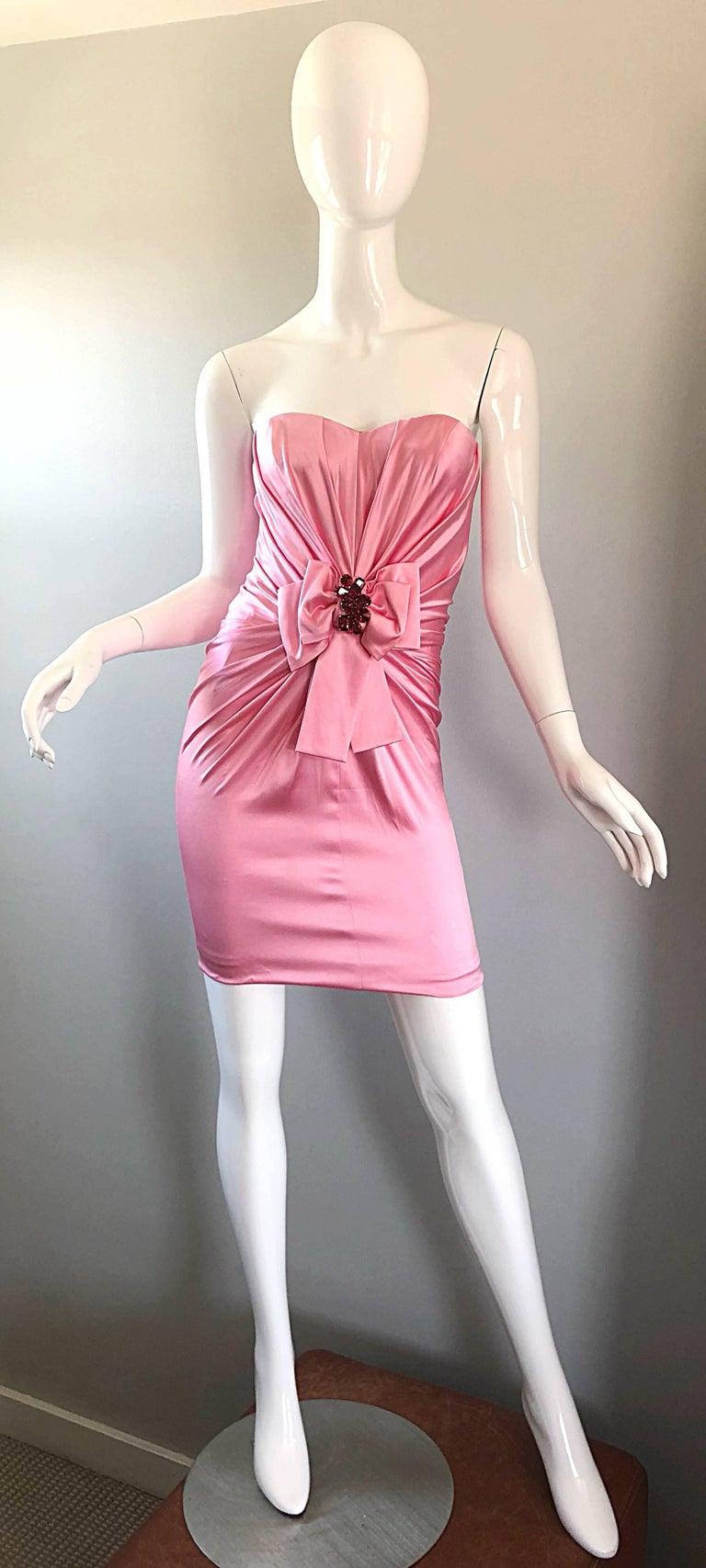 Sexy vintage late 90s DOLCE   GABBANA bubblegum pink silk strapless mini  dress! Features flattering f643d7c4c