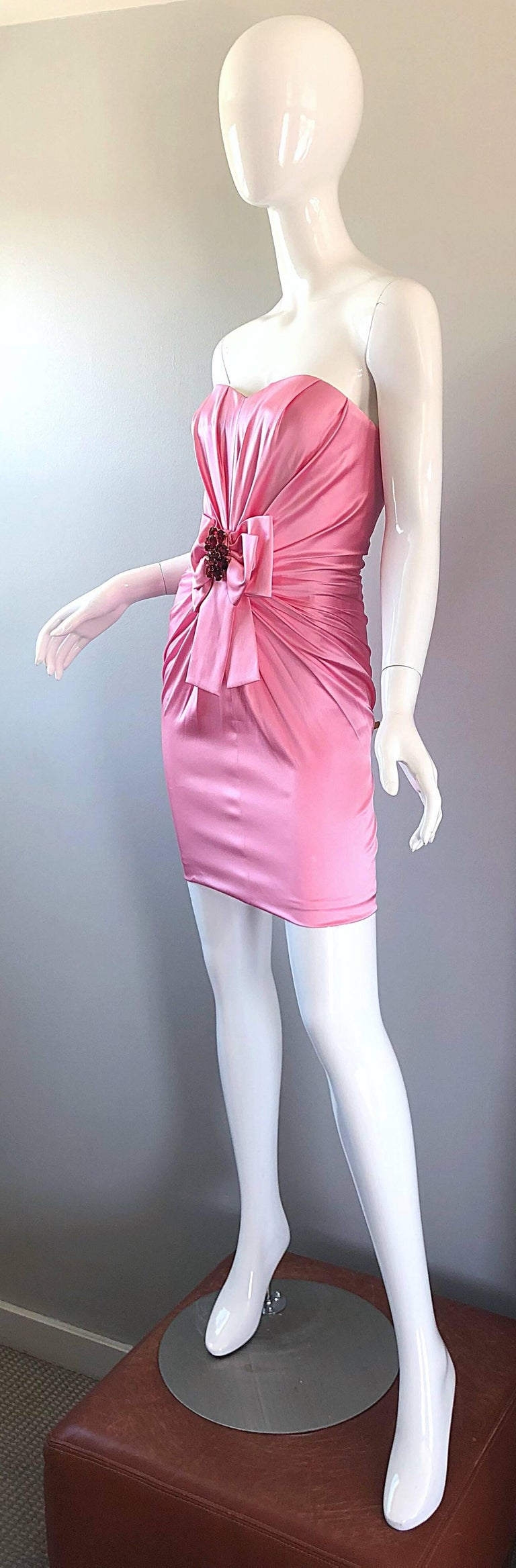Women's 1990s Dolce and Gabbana Bubblegum Pink + Red Crystal Beaded 90s Silk Mini Dress For Sale