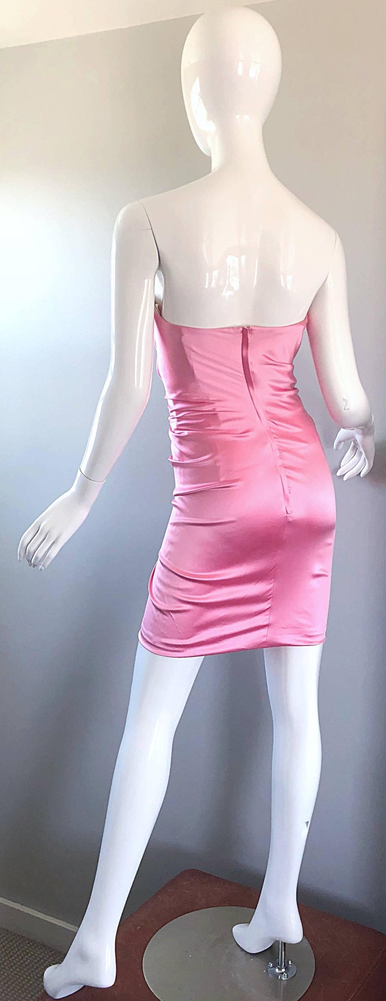 1990s Dolce and Gabbana Bubblegum Pink + Red Crystal Beaded 90s Silk Mini Dress For Sale 1