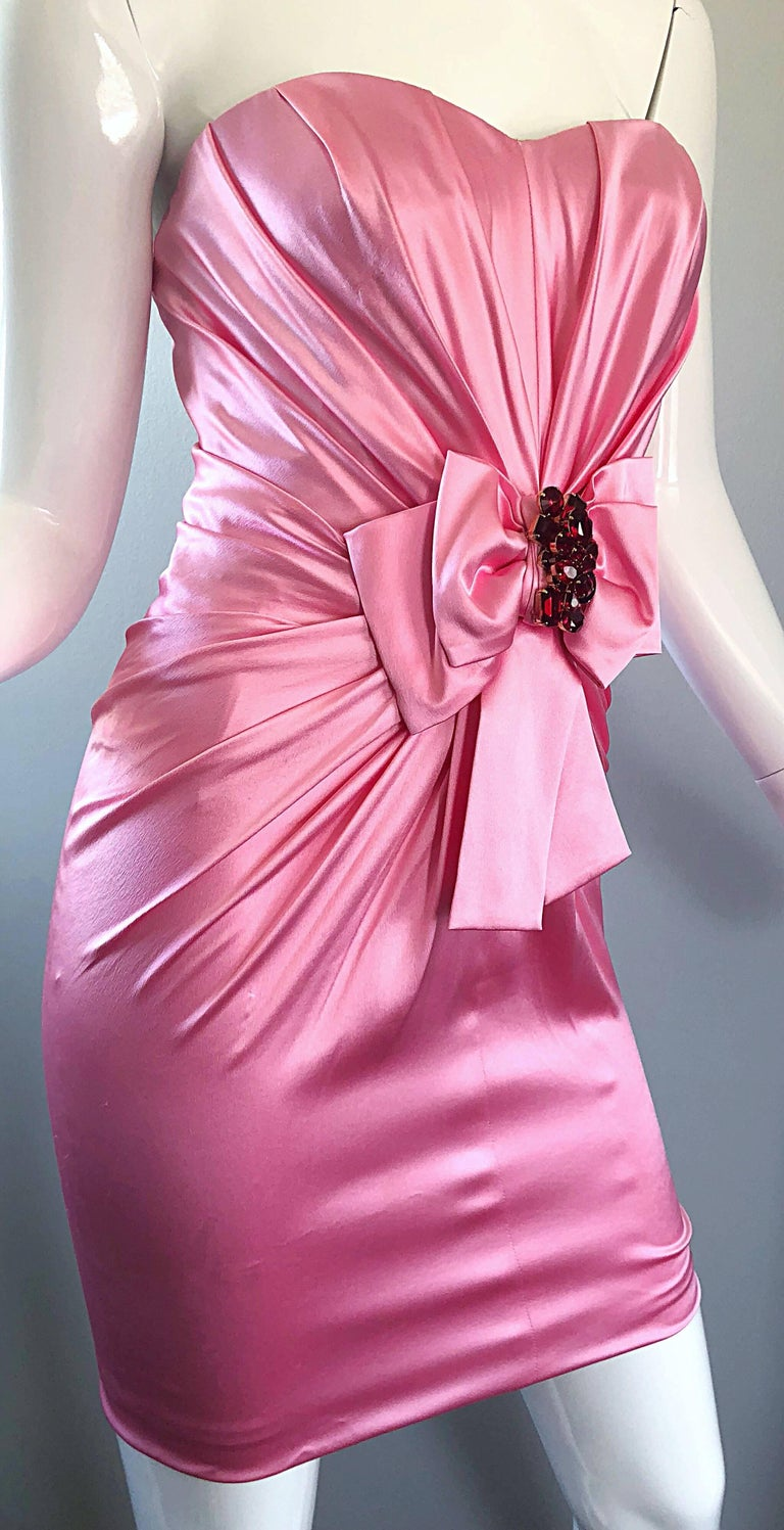 1990s Dolce and Gabbana Bubblegum Pink + Red Crystal Beaded 90s Silk Mini Dress For Sale 2