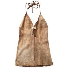1990s Dolce & Gabbaba D&G washed suede scalloped neckline fringe vest top