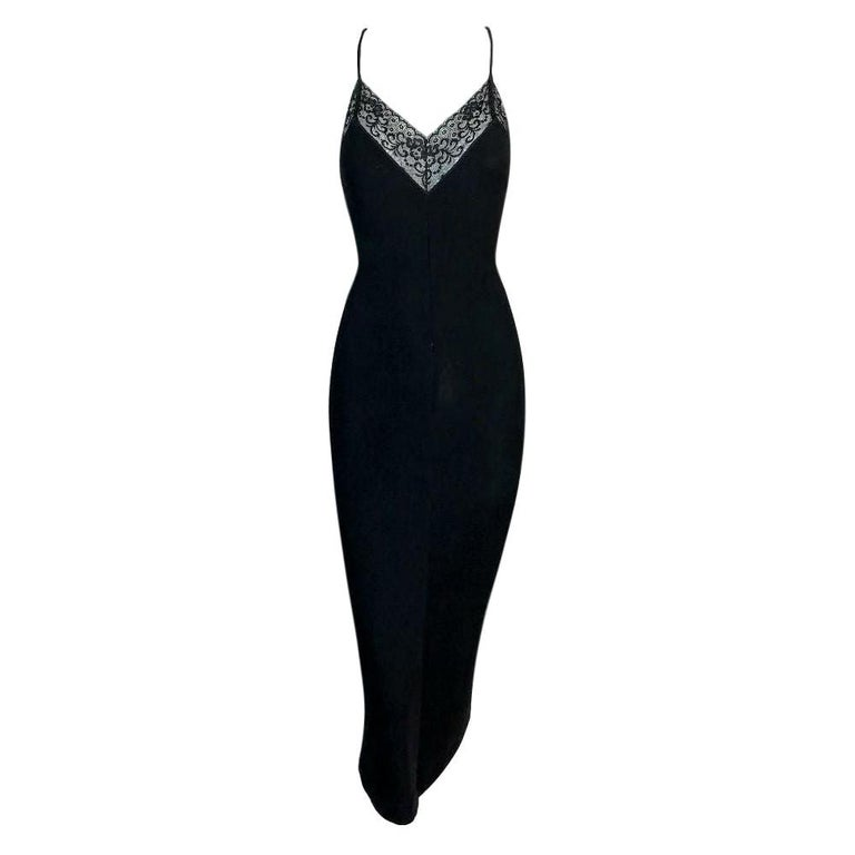 1990's Dolce & Gabbana Black Lace Trim Bodycon Plunging Back Dress For Sale