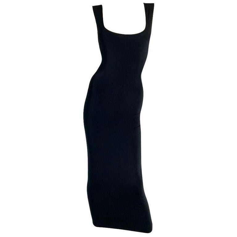 1990's Dolce & Gabbana Black Nylon Bodycon Pin-Up Long Wiggle Dress For Sale