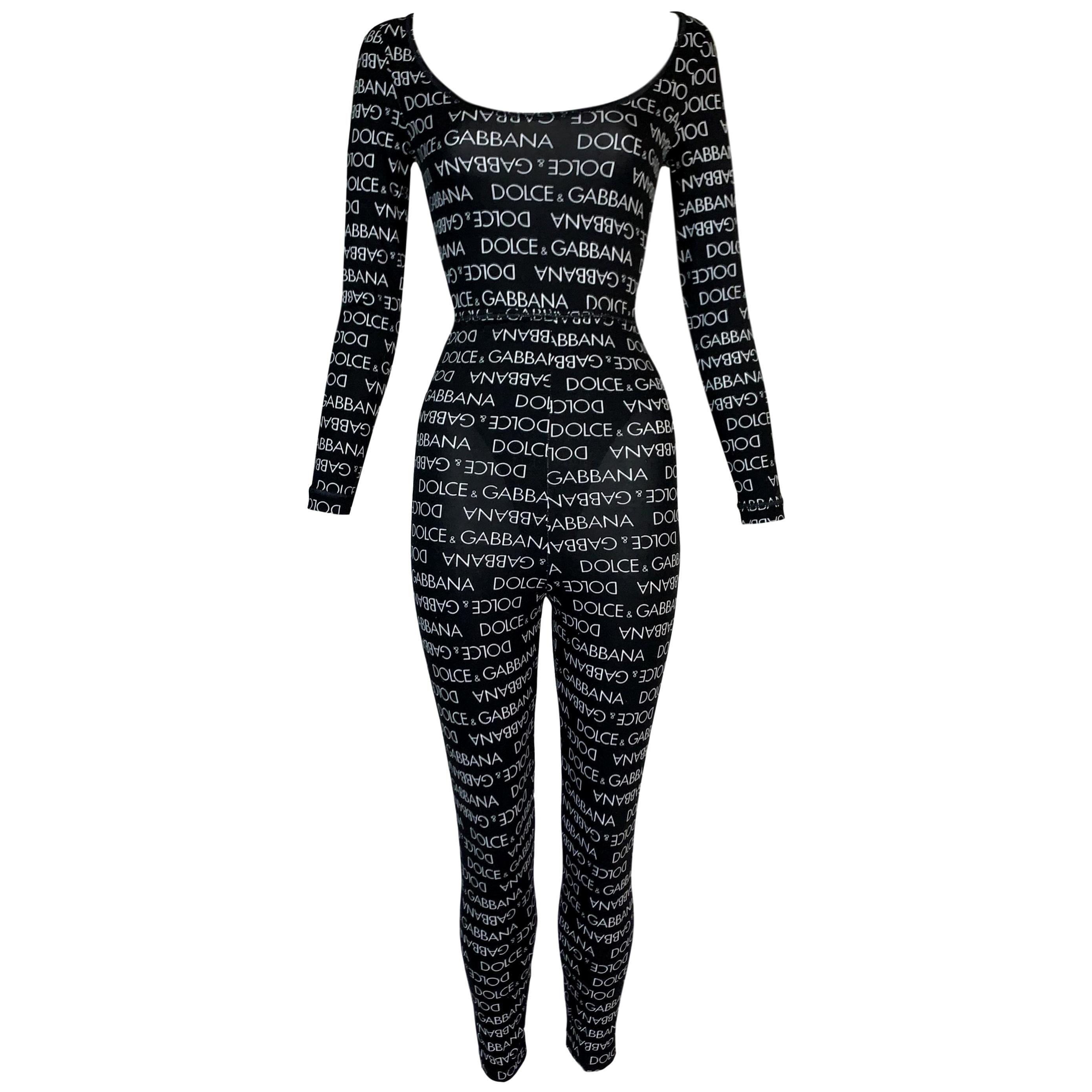 1990's Dolce & Gabbana Black & White Logo Monogram Jumpsuit Bodysuit Leggings