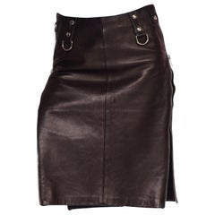 1990's Dolce & Gabbana Bondage Collection Leather Skirt