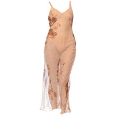 1990S DOLCE & GABBANA Champagne Floral Silk Chiffon Sheer Bias Dress