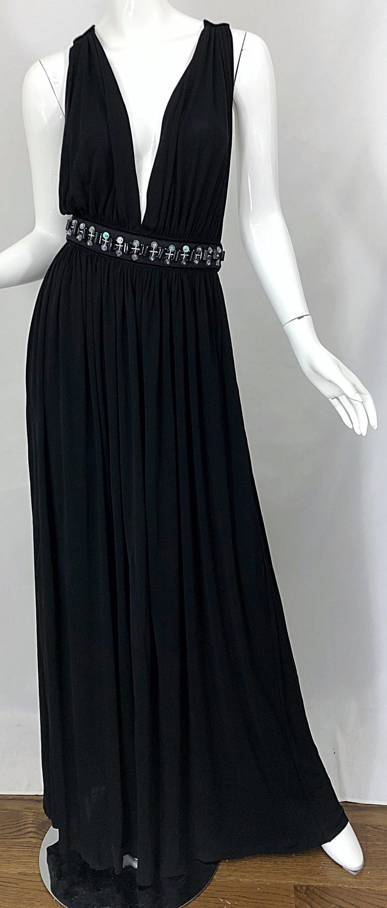 1990s Dolce & Gabbana D&G Black Plunging Sexy Beaded Sleeveless Vintage 90s Gown For Sale 6