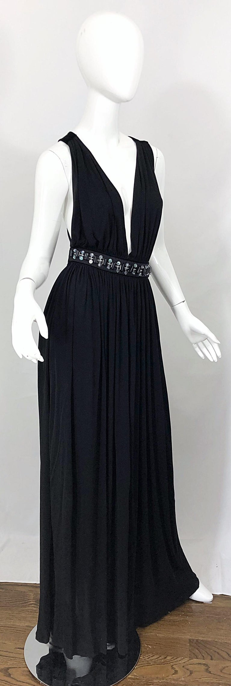 1990s Dolce & Gabbana D&G Black Plunging Sexy Beaded Sleeveless Vintage 90s Gown For Sale 8