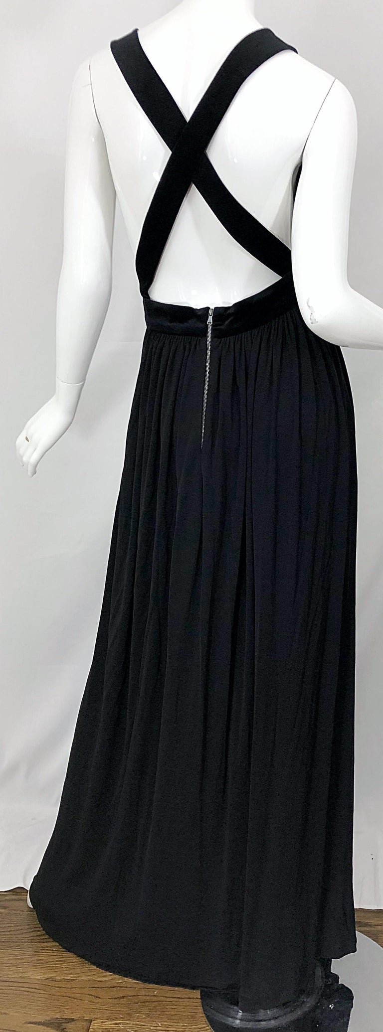 1990s Dolce & Gabbana D&G Black Plunging Sexy Beaded Sleeveless Vintage 90s Gown For Sale 9