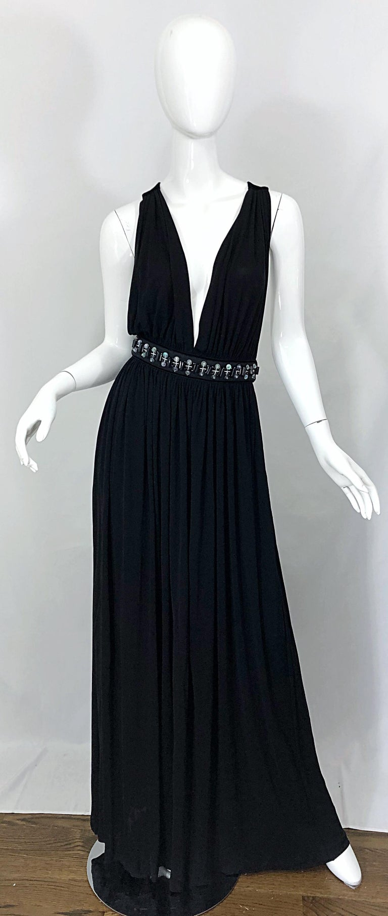 1990s Dolce & Gabbana D&G Black Plunging Sexy Beaded Sleeveless Vintage 90s Gown For Sale 10