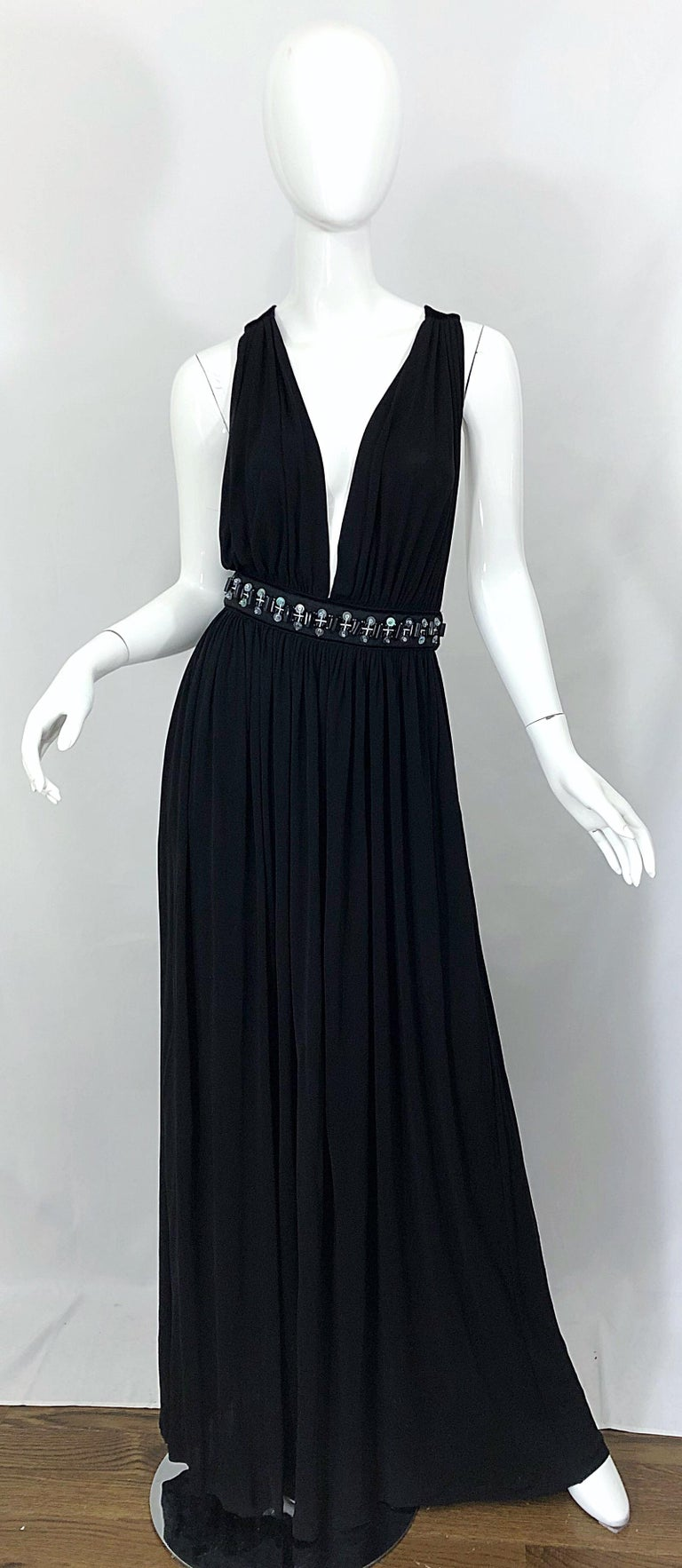 1990s Dolce & Gabbana D&G Black Plunging Sexy Beaded Sleeveless Vintage 90s Gown In Excellent Condition For Sale In Chicago, IL