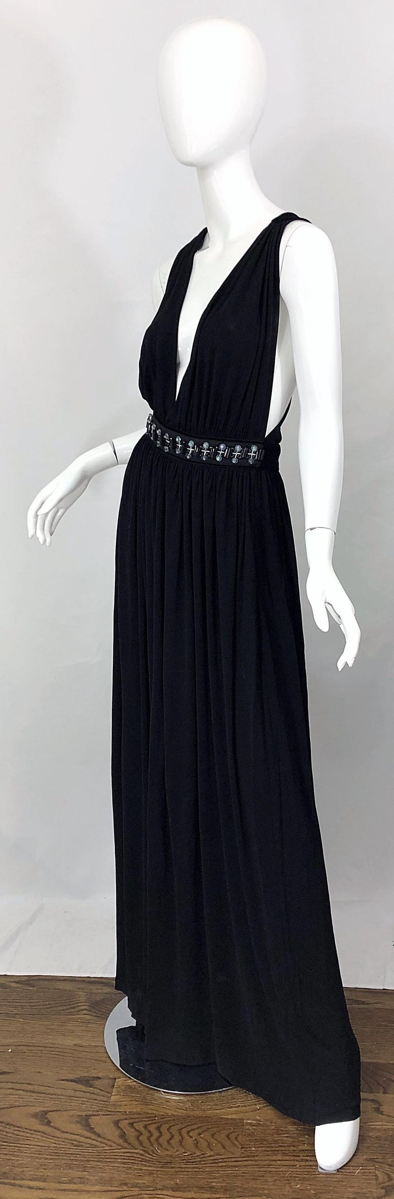 1990s Dolce & Gabbana D&G Black Plunging Sexy Beaded Sleeveless Vintage 90s Gown For Sale 1