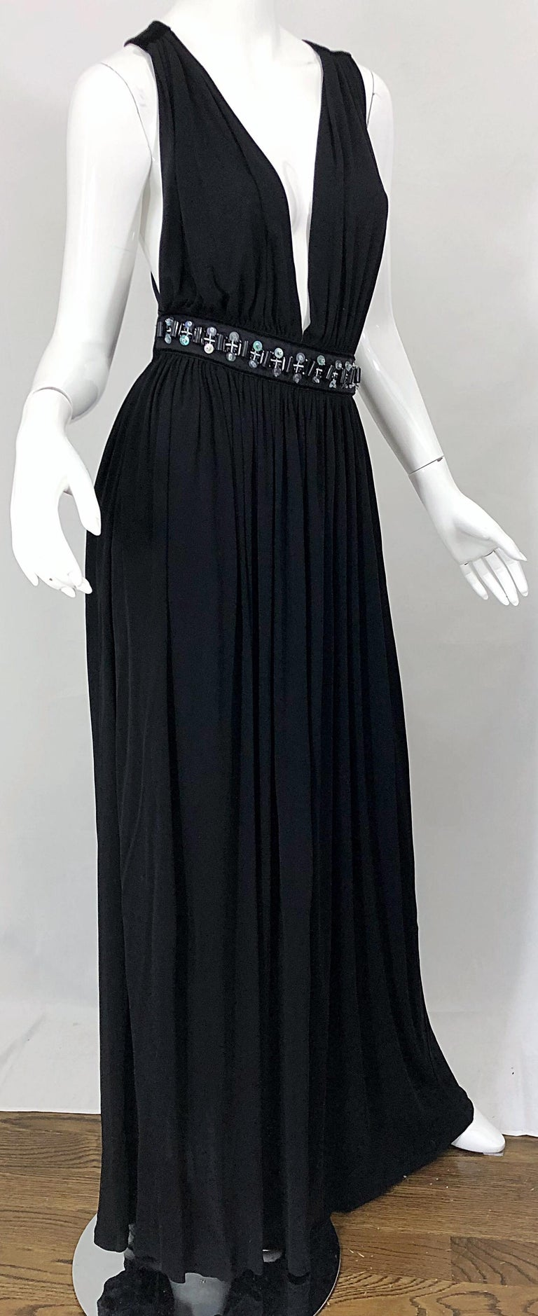 1990s Dolce & Gabbana D&G Black Plunging Sexy Beaded Sleeveless Vintage 90s Gown For Sale 3