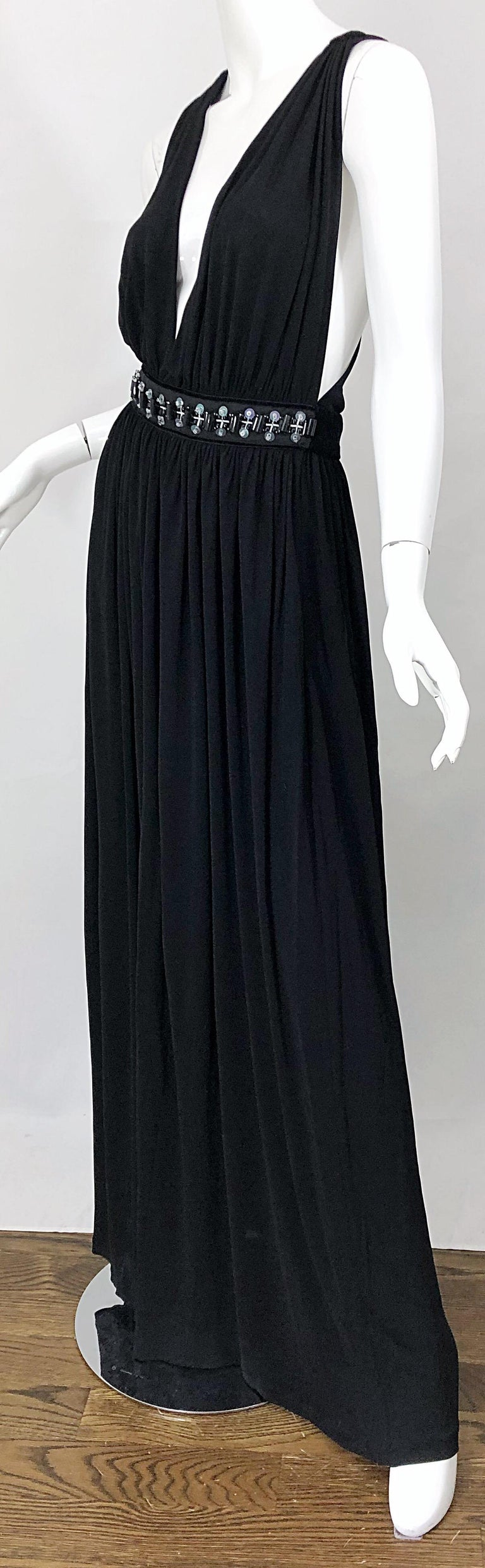 1990s Dolce & Gabbana D&G Black Plunging Sexy Beaded Sleeveless Vintage 90s Gown For Sale 4