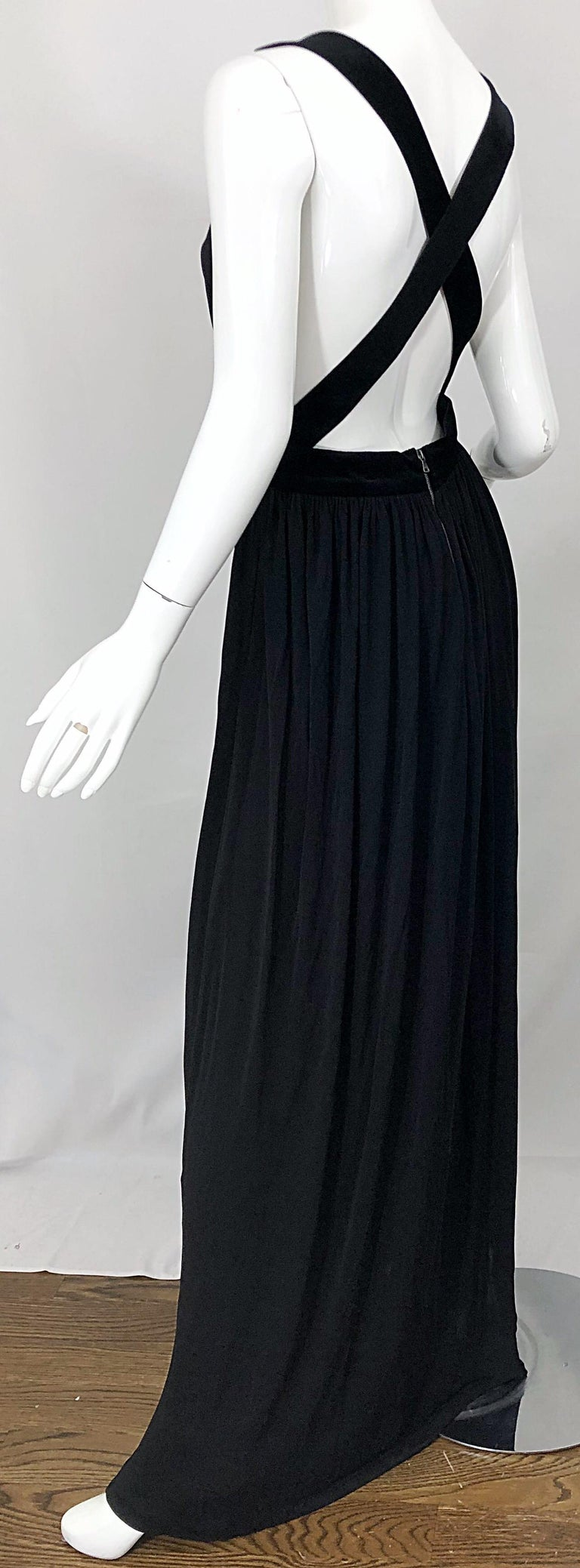 1990s Dolce & Gabbana D&G Black Plunging Sexy Beaded Sleeveless Vintage 90s Gown For Sale 5