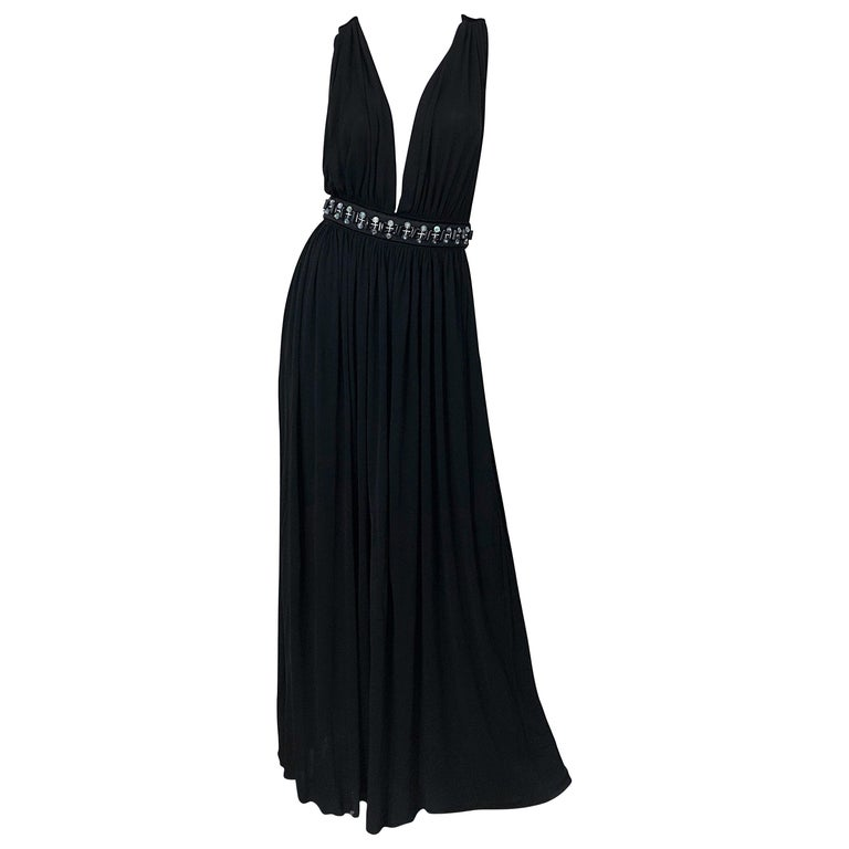 1990s Dolce & Gabbana D&G Black Plunging Sexy Beaded Sleeveless Vintage 90s Gown For Sale