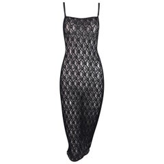 1990's Dolce & Gabbana Embroidered Fishnet Mesh Wiggle Pin-Up Dress