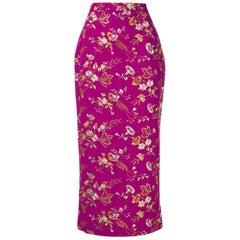 1990s Dolce & Gabbana Embroidered Fuchsia Skirt