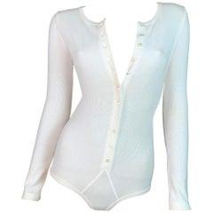 1990's Dolce & Gabbana Ivory Boyshort Underwear Plunging Bodysuit Top