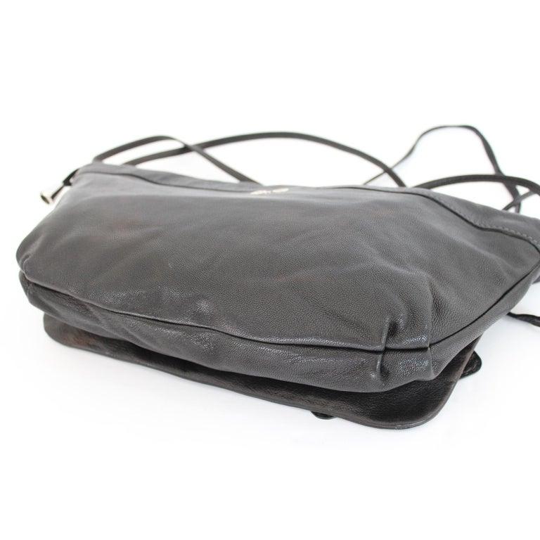 1990s Dolce & Gabbana Maika Black Leather Bow Shoulder Bag For Sale 2
