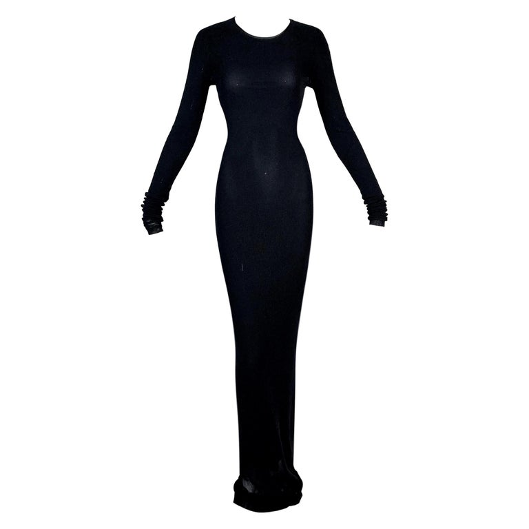 1990's Dolce & Gabbana Semi-Sheer Double Layer Mesh Extra Long Dress For Sale
