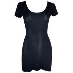 1990's Dolce & Gabbana Semi-Sheer S/S Black Tunic Micro Mini Dress