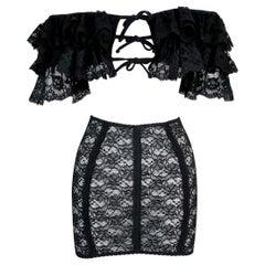 1990's Dolce & Gabbana Sheer Black Lace Off Shoulder Crop Top & Mini Skirt