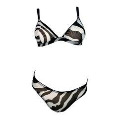 1990's Dolce & Gabbana Sheer Mesh Black & White Zebra Bra & Panty