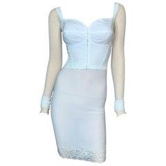 1990's Dolce & Gabbana Sheer White Mesh L/S Bustier & High Waist Skirt Set