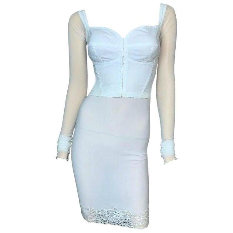 1990's Dolce & Gabbana Sheer White Mesh L/S Bustier & High Waist Skirt Set For Sale