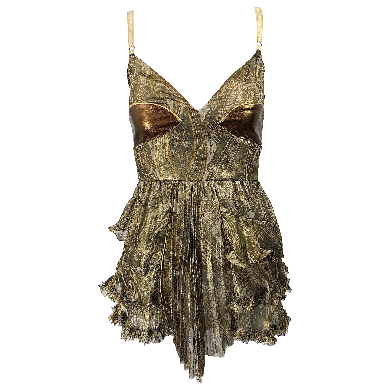 1990s Dolce & Gabbana Silk + Leather Paisley Bronze Metallic Vintage 90s Shirt