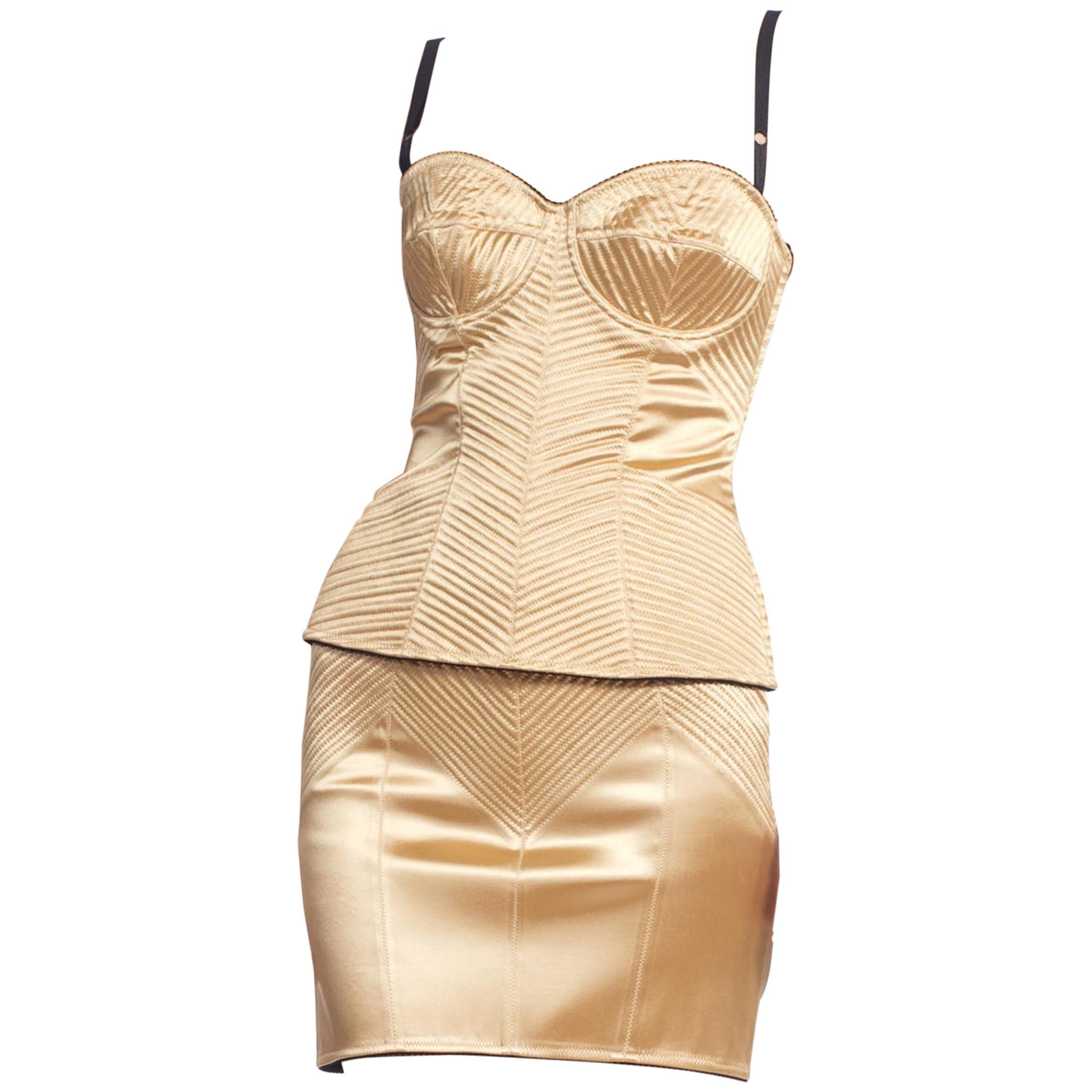 1990'S DOLCE & GABBANA Gold Satin Two Piece Corset Top Skirt Suit