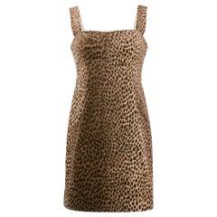1990s Dolce&Gabbana Animalier Leopard Print Dress
