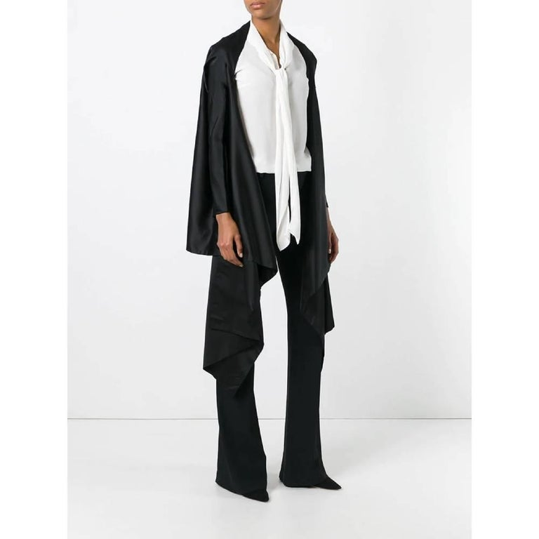 Dolce & Gabbana open kimono jacket in black silk with front drape and long sleeves with reduced fit. Years: 90s  Made in Italy  Linear measures  Height: 74 cm Sleeves: 54 cm