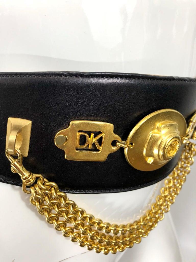 1990s Donna Karan Black Leather Vintage 90s Belt w/ Removable Gold Chain For Sale 1