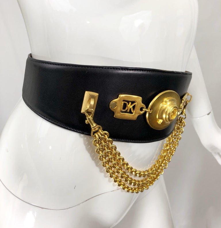 1990s Donna Karan Black Leather Vintage 90s Belt w/ Removable Gold Chain For Sale 2