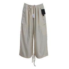 1990s Donna Karan Ivory Cotton Palazzo Trousers