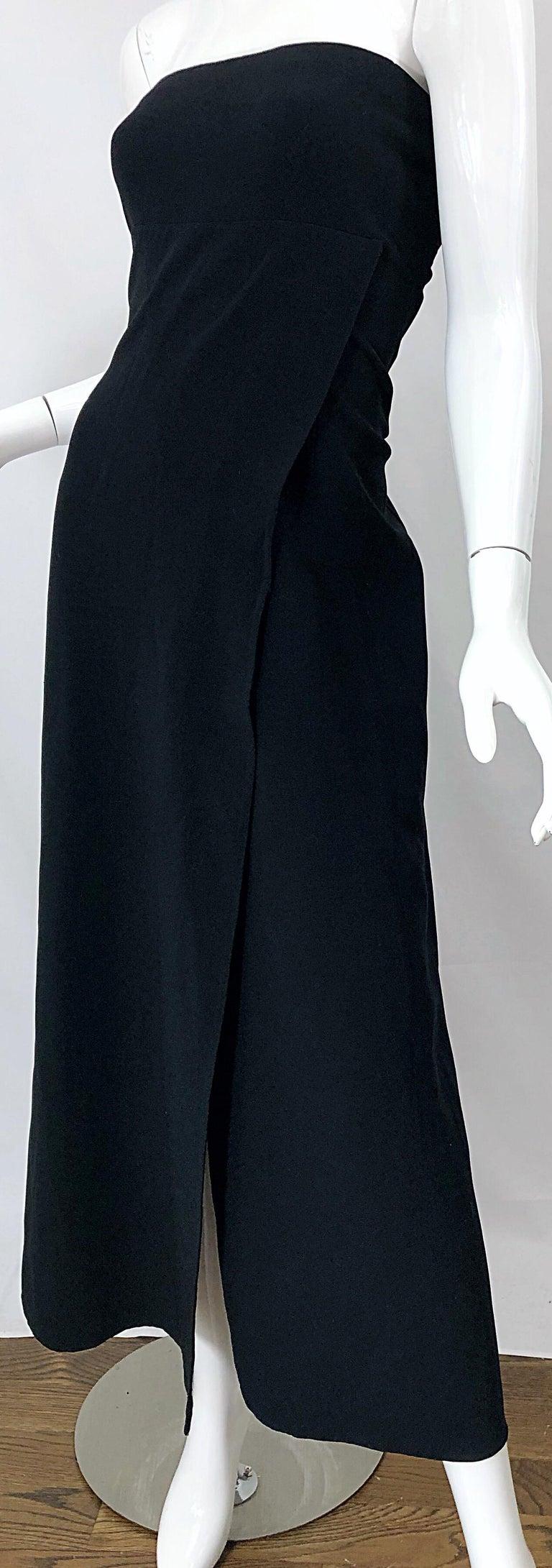 1990s Donna Karan New York Size 4 Black Strapless Vintage 90s Gown Maxi Dress For Sale 6