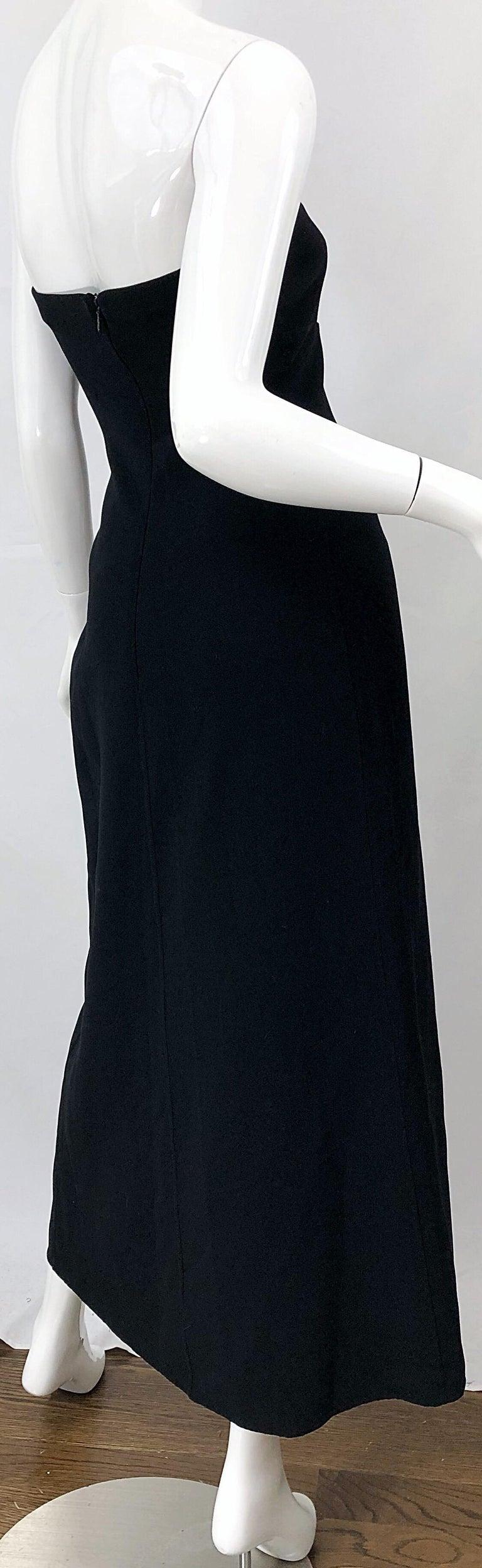 1990s Donna Karan New York Size 4 Black Strapless Vintage 90s Gown Maxi Dress For Sale 7