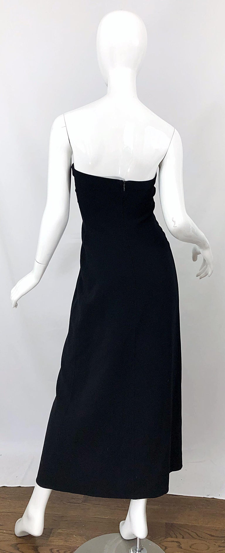 1990s Donna Karan New York Size 4 Black Strapless Vintage 90s Gown Maxi Dress In Excellent Condition For Sale In Chicago, IL
