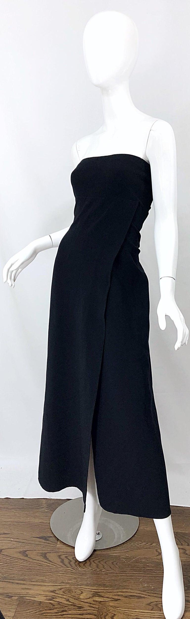 Women's 1990s Donna Karan New York Size 4 Black Strapless Vintage 90s Gown Maxi Dress For Sale