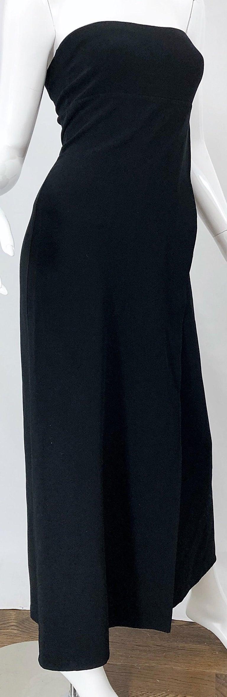 1990s Donna Karan New York Size 4 Black Strapless Vintage 90s Gown Maxi Dress For Sale 1