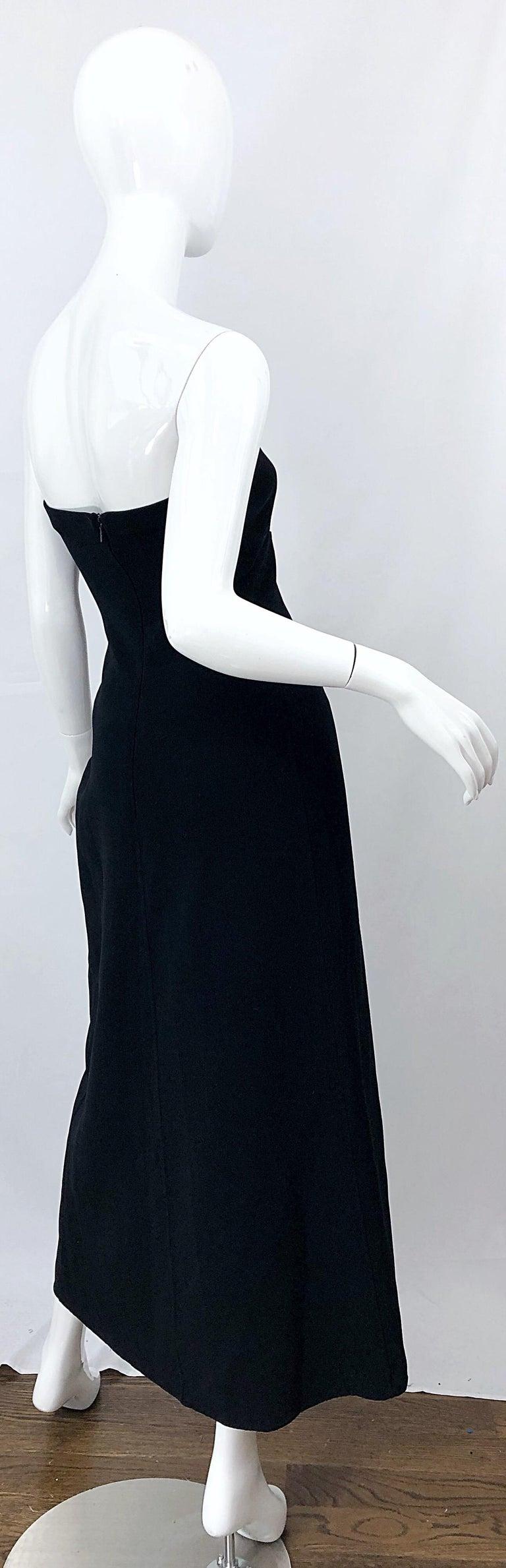 1990s Donna Karan New York Size 4 Black Strapless Vintage 90s Gown Maxi Dress For Sale 2