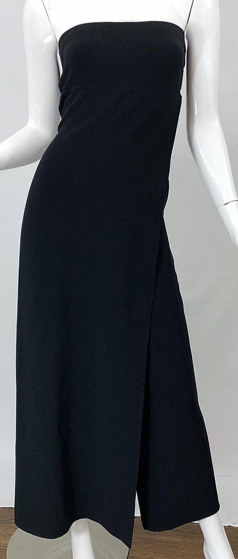 1990s Donna Karan New York Size 4 Black Strapless Vintage 90s Gown Maxi Dress For Sale 3