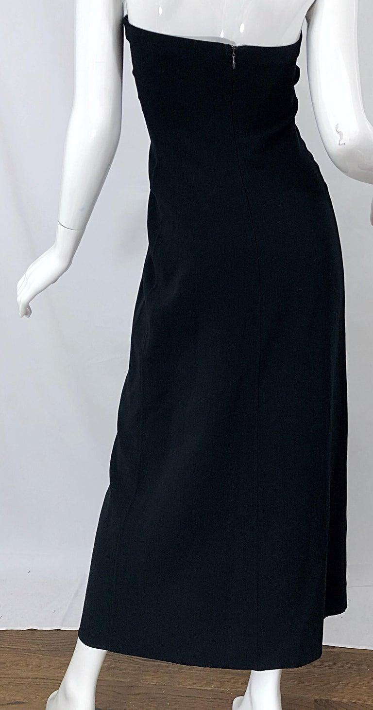 1990s Donna Karan New York Size 4 Black Strapless Vintage 90s Gown Maxi Dress For Sale 4